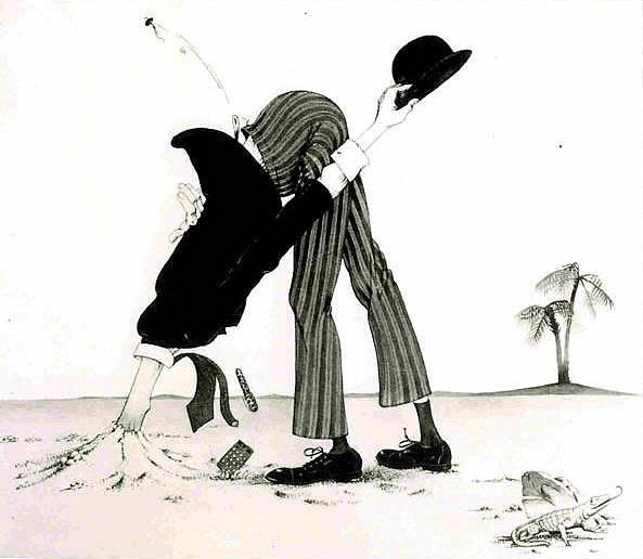 Cartoon of man with head stuck in the sand