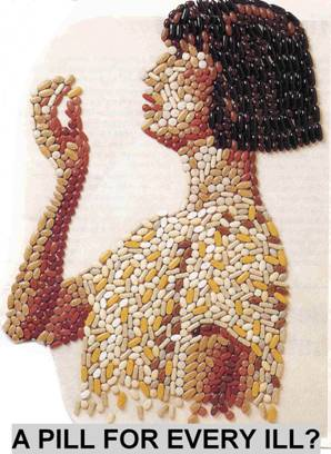 Picture of woman made up from pills