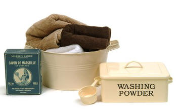Washing powder and towels